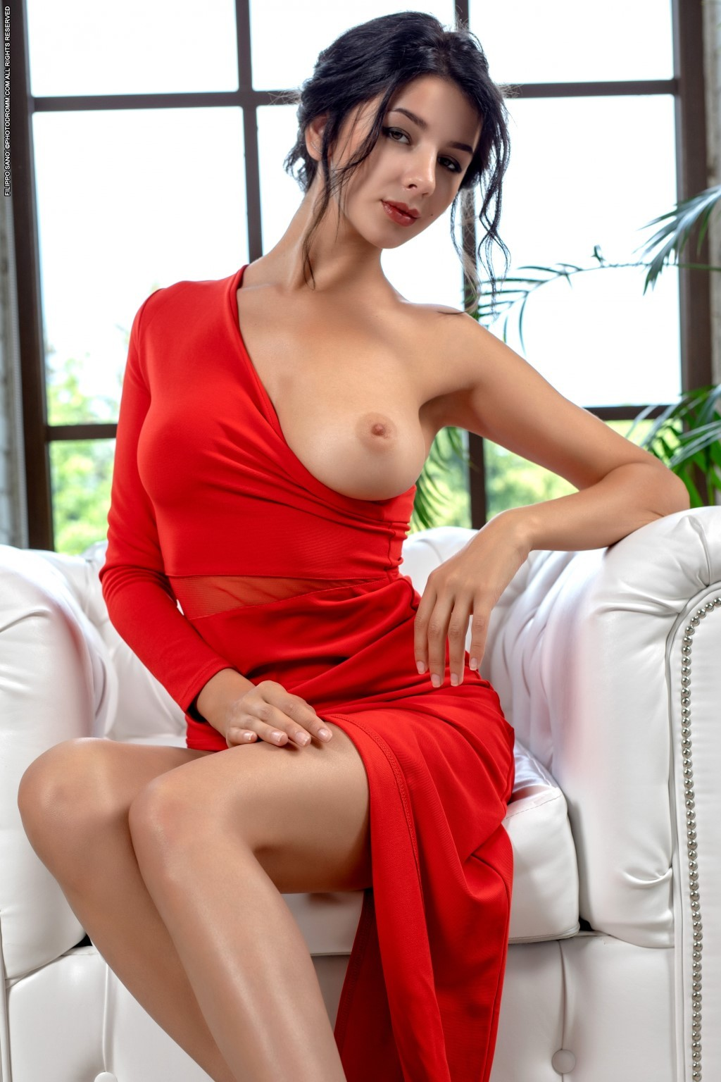 busty naked Nadine in red dress